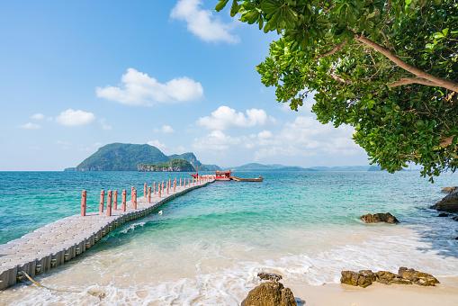 Beautiful tropical beach sea and sand in Andaman Sea Thailand.